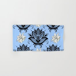 Black and White Floral Pattern Design on Blue Background Hand & Bath Towel