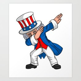 4th of July Party design for Kids Boys Men Dabbing Uncle Sam Art Print