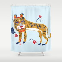 tiger Shower Curtains featuring tiger by echo3005