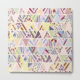 Hand Drawn Geometric Triangle Pattern Design - Burgundy and Yellow Metal Print