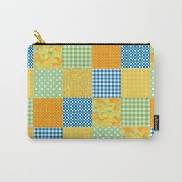 Golden Daffodils Faux Patchwork Carry-All Pouch