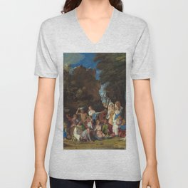 The Feast of the Gods Painting by Giovanni Bellini and Titian Unisex V-Neck