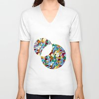 mozart V-neck T-shirts featuring Mozart abstraction by Laura Roode