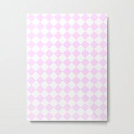Diamonds - White and Pastel Violet Metal Print