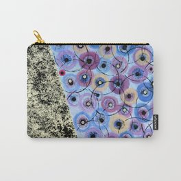 Circles and Flowers- Blue Carry-All Pouch