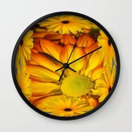 GOLDEN YELLOW SUNFLOWERS ART Wall Clock