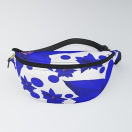 Poinsettia Blue Indigo Pattern Fanny Pack