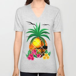 Pineapple Tropical Sunset, Palm Tree and Flowers Unisex V-Neck