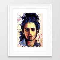 ezra koenig Framed Art Prints featuring Ezra Miller by Olga Noes