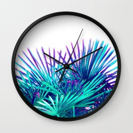 Cool modern teal purple gradient artistic palm tree tropical plants Wall Clock