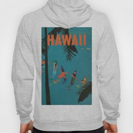 Surfing Hawaii - Jet Clippers to Hawaii Vintage Travel Poster Hoody