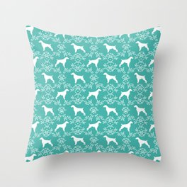 Brittany Spaniel florals silhouettes dog breed pet portrait gifts blue Throw Pillow