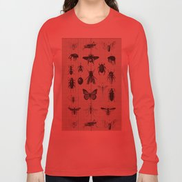 Vintage Insect Study on antique 1800's Ledger paper print Long Sleeve T-shirt