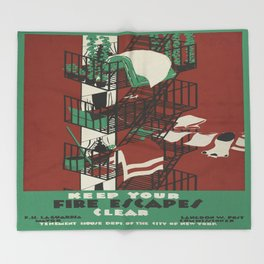 Vintage poster - Keep Your Fire Escapes Clear Throw Blanket