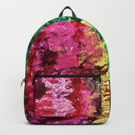 Abstract painting rose and green Backpack
