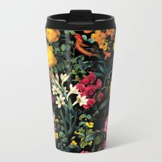 Floral and Birds Pattern Metal Travel Mug