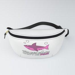 CRAZY SHARK LADY Design - Pink Shark Fanny Pack