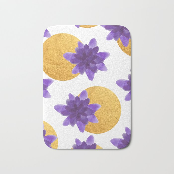 Reassurance // Violet Watercolor Flowers and Gold Spots Bath Mat