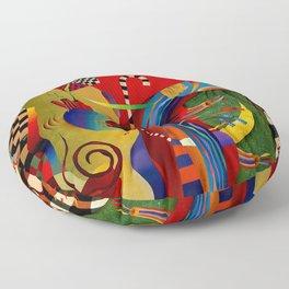 Red green transcendental abstraction Floor Pillow