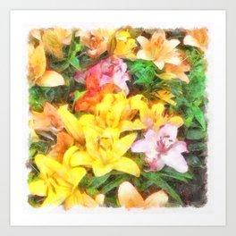 Lilies Love and Light Art Print