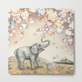 Elephant Bubble Dream Metal Print