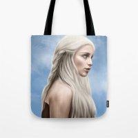 daenerys targaryen Tote Bags featuring Khaleesi (Blue Sky) by Jason Cumbers