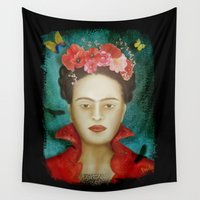frida Wall Tapestries featuring Frida by Sybille Sterk