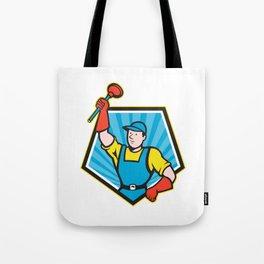 Super Plumber Wielding Plunger Pentagon Cartoon Tote Bag