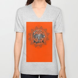 Skull and Crossbones Medallion Unisex V-Neck