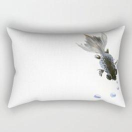 Black Fish, feng shui zen brush minimalist ink art design Rectangular Pillow