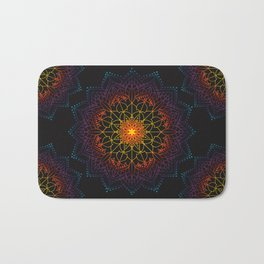 'Glowing Shamballa' Bohemian Mandala Black Blue Purple Orange Yellow Bath Mat