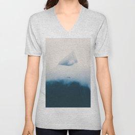 Misty Mountain Peak Blue Hues Minimalist Modern Photo Single Bird Unisex V-Neck