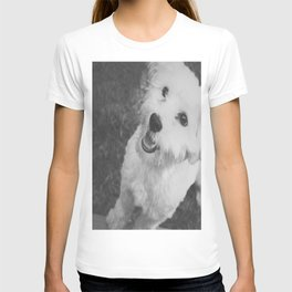 A Puppy Saying Hello Light Black and White T-shirt