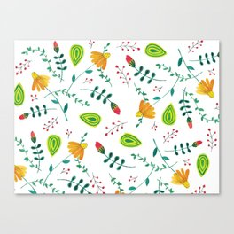 Hand Painted Botanical Pattern Canvas Print