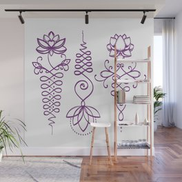 Unalome Lotus  - Purple Wall Mural