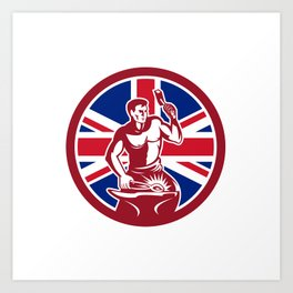 British Blacksmith Union Jack Flag Icon Art Print