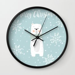 Cute Polar Bear Mint Wall Clock