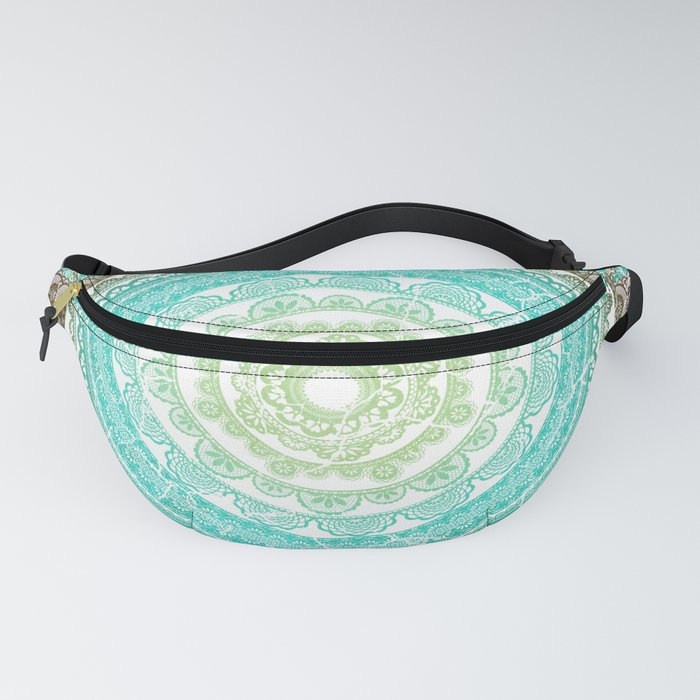 Mandala Tapestry, Shower Curtain, Cushion, Vintage Distressed Faded Mandala Blue & Green Fanny Pack