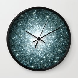 Ash Naples Blue Teal Galaxy Sparkle Stars Wall Clock