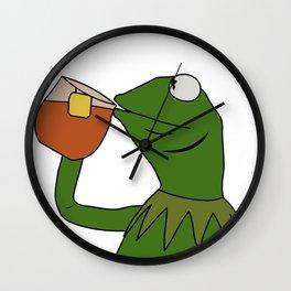 Kermit Inspired Meme King Sipping Tea Wall Clock