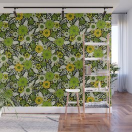 Modern Yellow & Green Floral Pattern Wall Mural