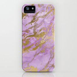 Lavender Gold Marble iPhone Case