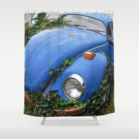 volkswagen Shower Curtains featuring Nature: 1 - Volkswagen Beetle: 0 by Hub Photos