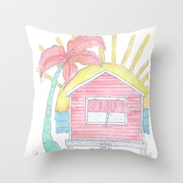 Beach Shack Vibes Throw Pillow