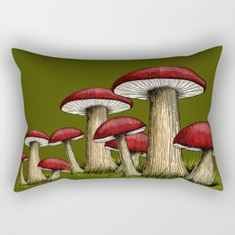 Red and Olive Army Green Mushrooms Rectangular Pillow