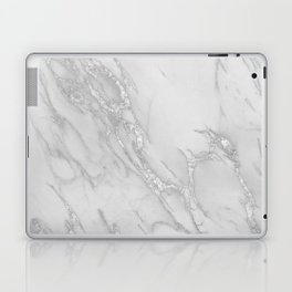 Marble Love Silver Metallic Laptop & iPad Skin