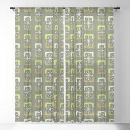 Mid Century Modern Starburst Shells Olive Green Sheer Curtain
