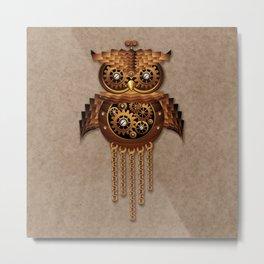 Steampunk Owl Vintage Style Metal Print