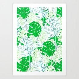 Banana Leaf in Teal Art Print