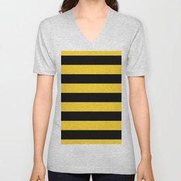 Yellow and Black Honey Bee Horizontal Cabana Tent Stripes Unisex V-Neck